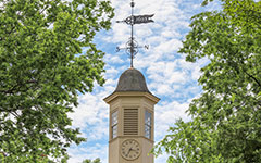 Crim Dell bridge surrounded by early fall foliage