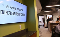 The lobby of the Alan B. Miller Entrepreneurship Center