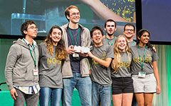 The iGem team with their award on stage