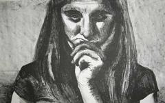 Charcoal drawing of a student from the President's Art collection