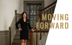 President Katherine Rowe in the Wren Building with Moving Forward text overlayed
