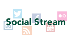 Social Stream text overlaying icons of Instagram, Twitter, RSS, Facebook, Youtube and Flickr