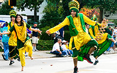 W&M Bhangra student dancers performing in costume