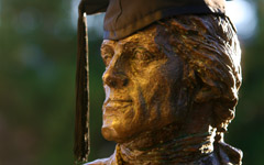 Jefferson statue in a graduation cap