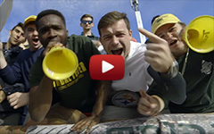 video still shot with very energetically cheering students at a W&M football game