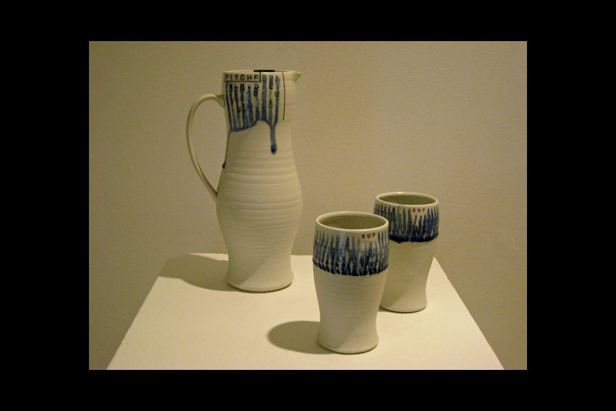 Andrew Coombs: Pitcher and 2 Cups; porcelain, cone 10 reduction, 2010