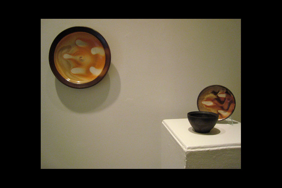Zach Dunn: Large Plate, Small Plate, Black Bowl; stoneware, 2010-11