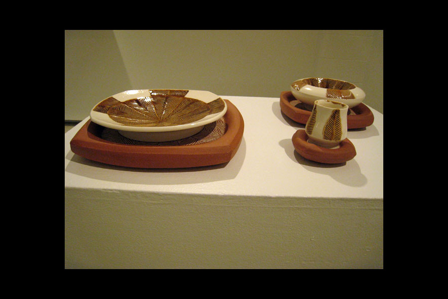 Anna Metcalfe: Large Hollow Charger and Dinner Plate, Small Hollow Charger and Hollow Bowl, Hollow Saucer and Cup; earthenware, porcelain, 2011