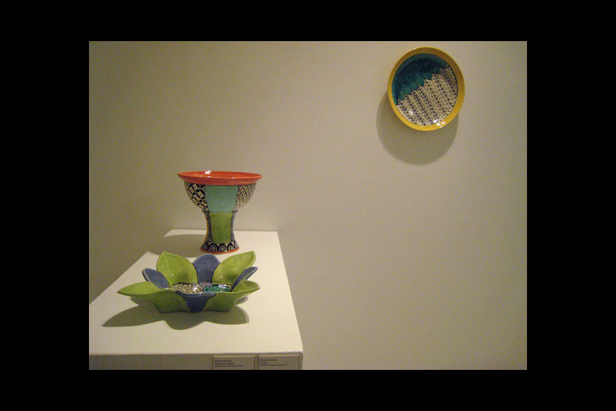 Kirsten Bassion: Serving Dish, Large Fruit Stand, Platter; wheel-thrown porcelain, 2010-11