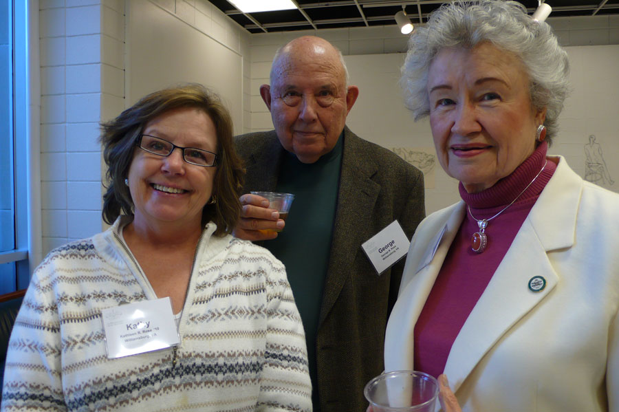Kathy Rose '10 (Art History) with husband George Rose, and Marge Brown '54 (Studio Art)