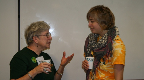 Margaret Snyder Mastbrook '63 and Rebecca Lowdon '99 at the 2010 Homecoming reception