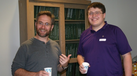 Faculty member Mark Forsyth and Jim Dunleavey '08
