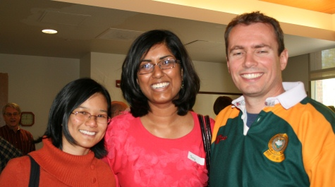 Phuong Din '08, Saj iPerera '08, and Professor John Swaddle