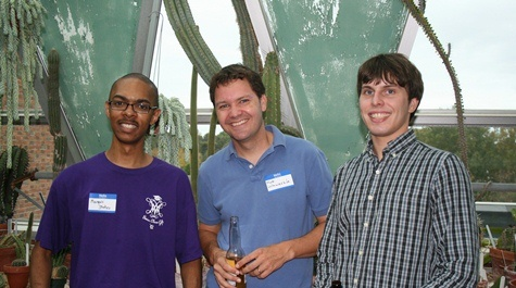 Marquis Stokes '12 (left) and Matthew Badgett '12 (right) made their first reunion, with current faculty member Matt Wawersik (center)