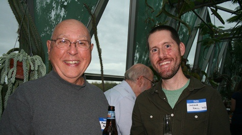 Professor Emeritus Martin Mathes speaks with Joshua Hall '02 on his 10th reunion