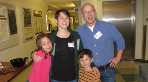 Assoc. Prof. Oli Kerscher (with his children) and Alyssa Beda '13