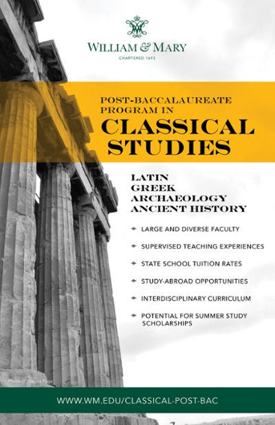 Post Baccalaureate Program in Classical Studies | William & Mary