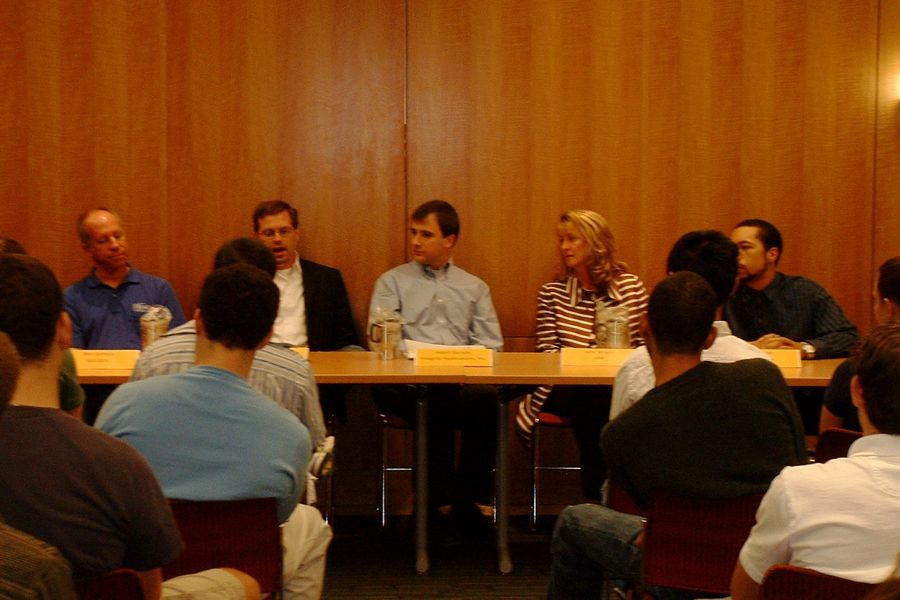 Panelists, from left to right: Ben Ashton, Jeremy Beker (M.S., '08), Adam Gurson (B.S., '00), Amy Wright (B.A., '81), Carl Otto (B.S., '07)
