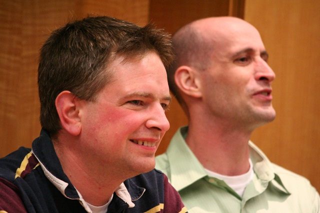 Left to right: Brian Dewey (B.S., '96) and Nathan Moore (B.S., '97, M.S., '99)