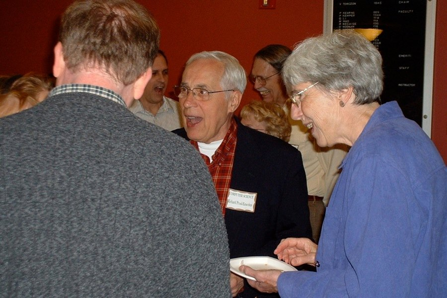 Prof. Emeritus Dick and Mrs. Carol Prosl; alos, Tim Davis ('87) (with back to camera0; Prof. Rance Necaise, Debbie Noonan, and Prof. Emeritus Bill Bynum (background)