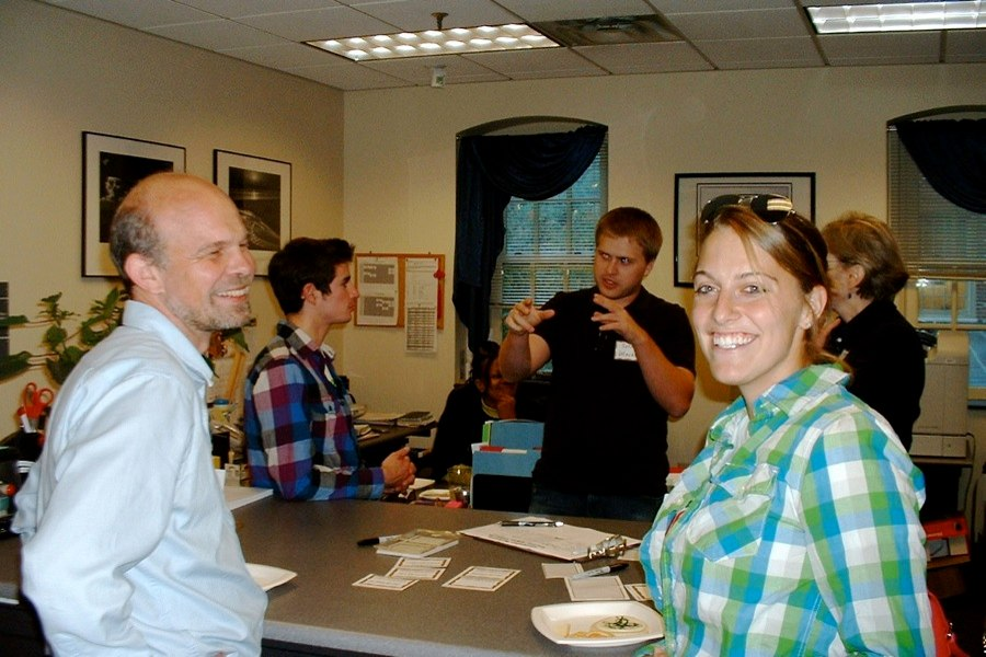 Prof. Peter Kemper and Alison Smith ('09) (foreground), Danny Gordon ('09), Seth Utecht ('10), and Prof. Virginia Torczon (background)