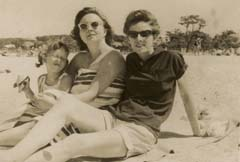 Linda Lunden, Jeanie Meurer, and Blue Lunden, Jones Beach, New York, 1960