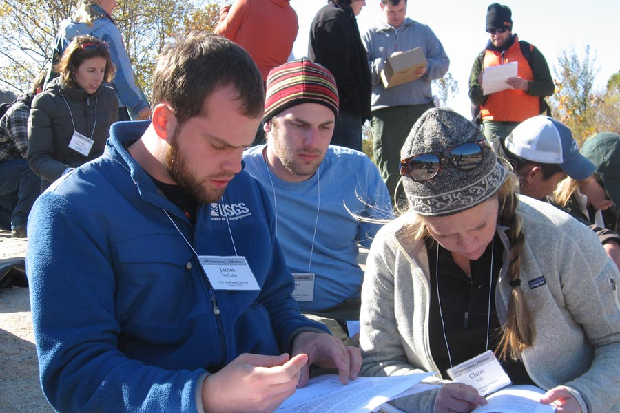 James McCulla ('10), Joe Quinn ('11), and Claire Still ('10) problem solving at Belle Island