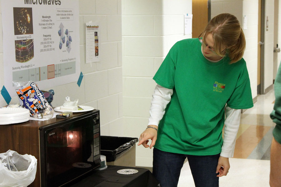 Demonstrating microwave electromagnetic radiation.  Photo credit J. Hill