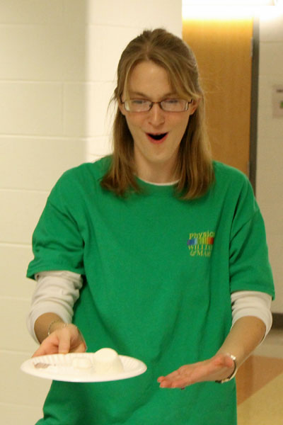Microwave radiation inflates a marshmallow!  Photo credit J. Hill