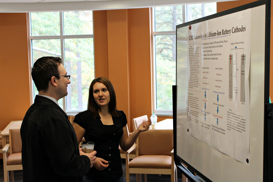 Attendees hear about undergraduate research projects at the poster session.  Photo credit J. Hill