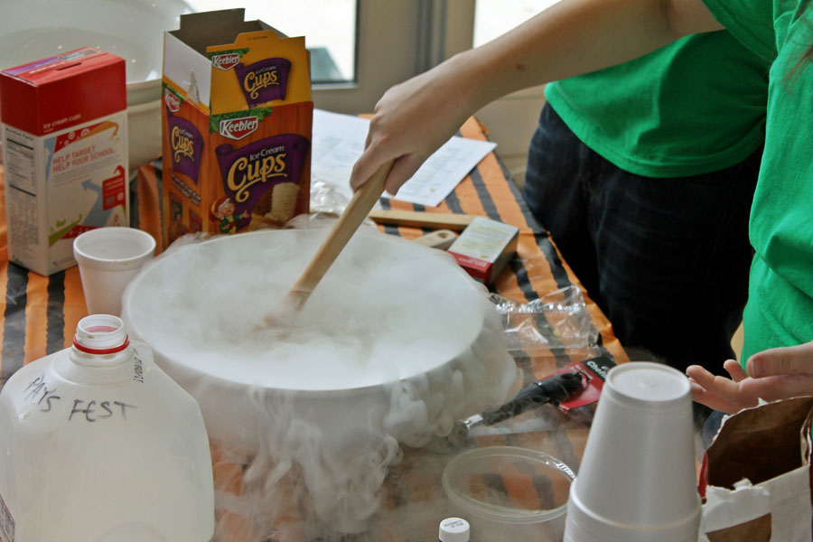 Liquid nitrogen ice cream.  Photo credit J. Hill