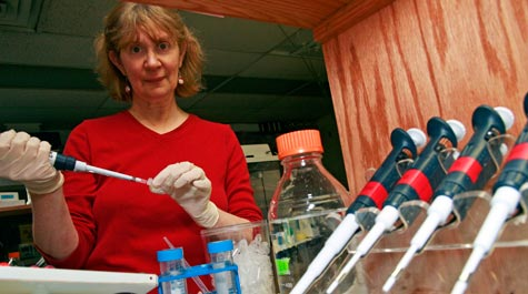 Professor Margaret Saha in Her Biology Lab