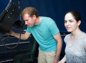Jacob Gunnarson and Alexandra Cramer plan to use the Thomas Harriot observatory to record asteroid impacts on Jupiter and Saturn. Photo by Joseph McClain