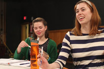 Maren Hunsberger '15 and Tess Higgins '15 during a rehearsal | Photo courtesy of Christine Fulgham '17