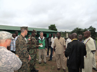 Flaherty discusses the Ebola outbreak with county health officials while visiting C.H. Rennie Hospital in Margibi County, Liberia.