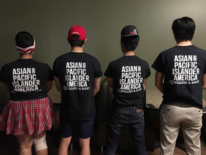 Members of the Asian American Student Initiative pose for a photo with the shirts the group created. (photo courtesy of Francis Tanglao-Aguas)
