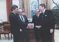 DeVita was reappointed director of the National Institute of Cancer by President Ronald Reagan in 1981 (Photo courtesy of Farrar, Straus and Giroux)
