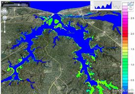 Output from a VIMS storm-surge model shows flooding in the Lynnhaven River during Hurricane Irene.