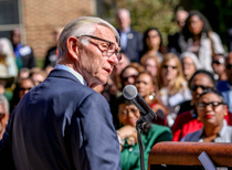 President Taylor Reveley addresses the crowd gathered for the dedication. (Photo by Skip Rowland '83)