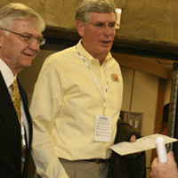 President Taylor Reveley accompanied Terry Driscoll when the latter was inducted into the New England Basketball Hall of Fame in 2009.