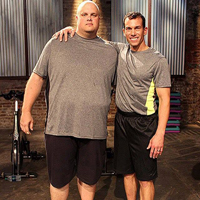 Jay Cardiello '99 (right) poses with a contestant on the set of the new ABC show''My Diet is Better Than Yours''