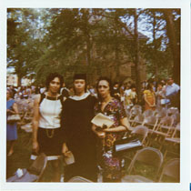 Janet Brown Strafer celebrating her graduation with her family in 1971.