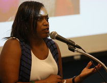 Shantá D. Hinton discussed her personal connections to the people and themes of the book. (Photo by Stephen Salpukas)