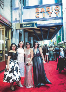 Clements and colleagues on the red carpet before the Tony Awards.