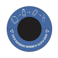 New decals will clearly depict what can be recycled in blue bins. (Photo courtesy of W&M Office of Sustainability)