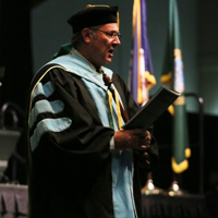 Professor John Charles at W&M's recent Charter Day ceremony