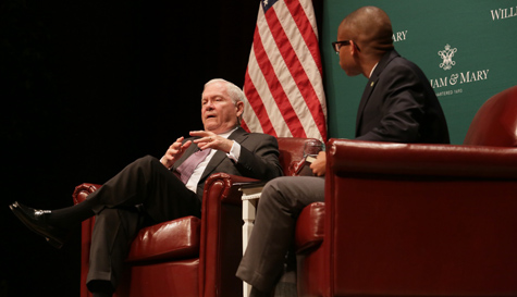 Gates discusses his book with Student Assembly President Yohance Whitaker '16 during a Q&A event in February 2016. (Photo by Stephen Salpulas)
