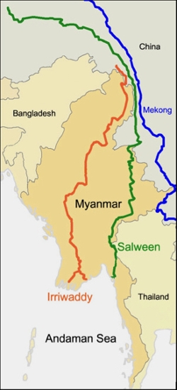 Myanmar lies in southeast Asia and is home to two major rivers, the Irrawaddy and Salween. Both empty into the Andaman Sea.