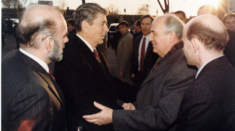 U.S. President Ronald Reagan and Soviet leader Mikhail Gorbachev after a 1988 meeting.