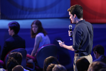 A student asks a question during the event. (Photo by Stephen Salpukas)